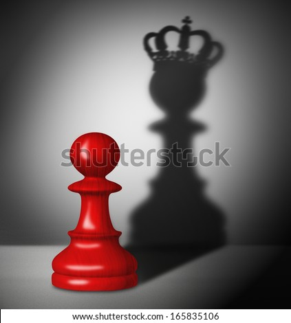 Red chess pawn with the shadow of a king. - stock photo