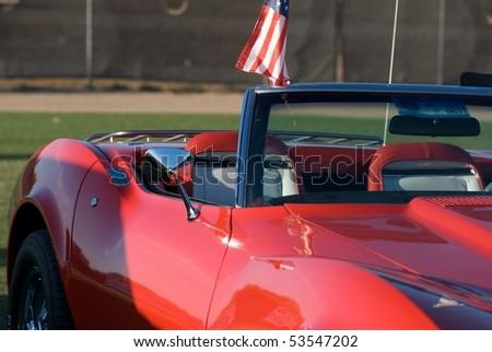 Red 1969 chevy stingray corvette - stock photo