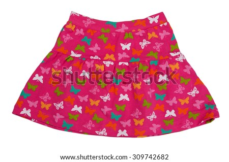 Red children skirt with patterned butterflies. Isolate on white. - stock photo
