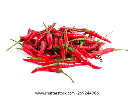 red chili or chilli cayenne pepper isolated on white background . - stock photo