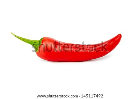 Red chili pepper isolated on white background - stock photo