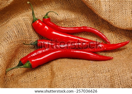 Red chili pepper on a sackcloth