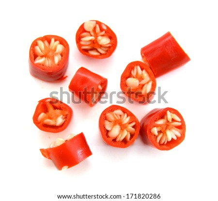red chili peppers, isolated on white  - stock photo