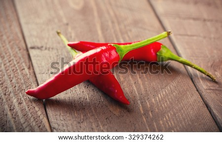 Red chili peppers on wood table