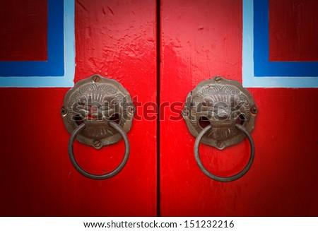 Red chinese door - stock photo