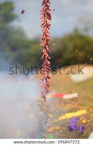 Red Chinese firecrackers - stock photo