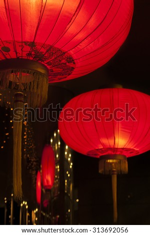 Red Chinese Lanterns at Mid-Autumn Festival - stock photo