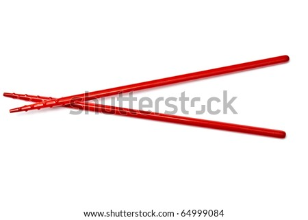 Red chopsticks isolated on white background