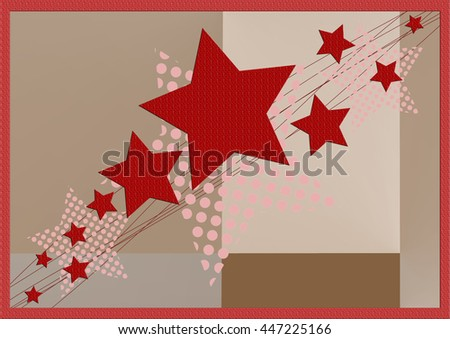 Red Christmas and New Years card with Christmas star