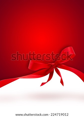 Red Christmas background with a bow - stock photo