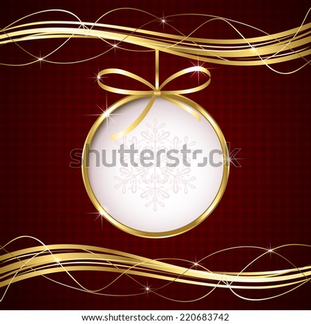 Red Christmas background with ball and golden ribbon, illustration. - stock photo