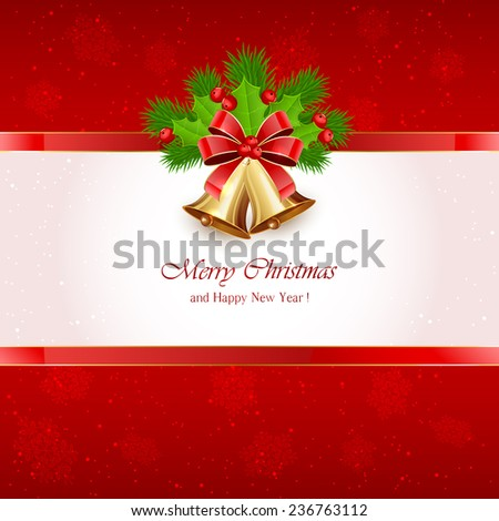 Red Christmas background with golden bells, red bow, Holly berries and fir tree branches, illustration. - stock photo