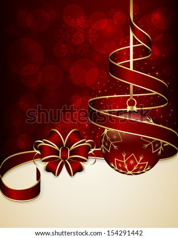 Red Christmas background with ribbon and bauble, illustration.