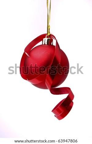Red Christmas ball - stock photo