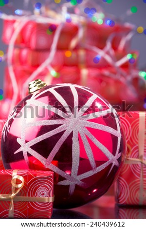 red Christmas ball, Christmas lights, red Christmas gift boxes