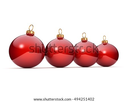 Red Christmas ball, 3D illustration