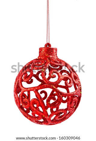 Red christmas ball isolated on a white background - stock photo