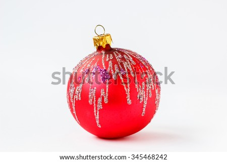 red christmas ball isolated on white background cutout