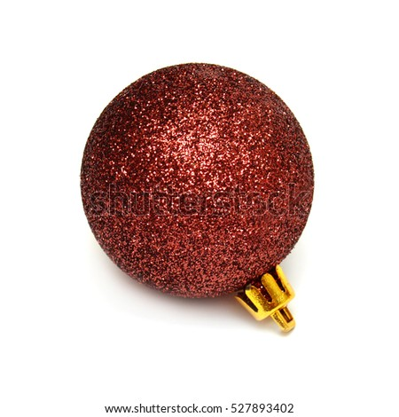 Red christmas ball isolated on white background. Flat lay, top view. Creative