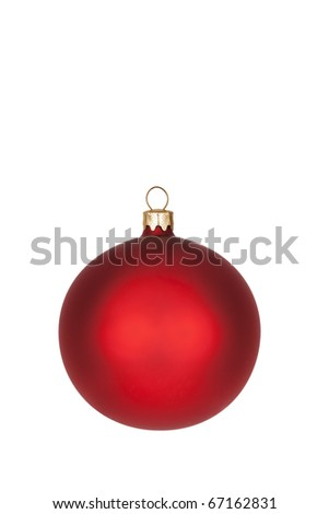 Red Christmas ball isolated with clipping path. - stock photo