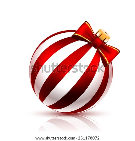 Red Christmas Ball on white background. illustration.