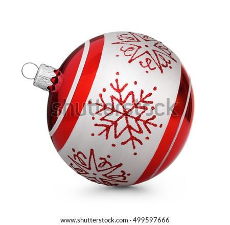 Red christmas ball with snowflakes isolated on white background