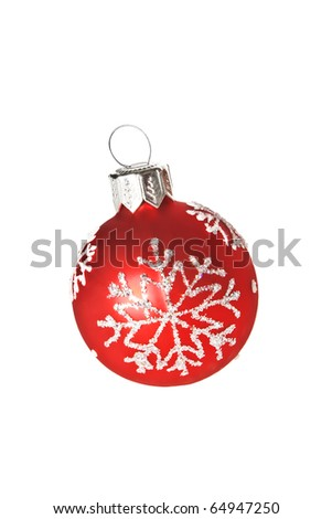Red Christmas ball with white snowflake on white background.