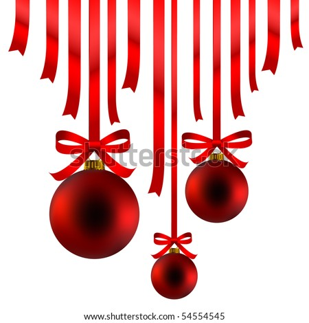 Red Christmas balls and ribbon