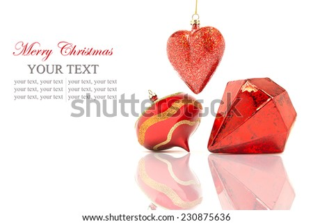 Red christmas balls/Christmas red balls reflected on white background, space for text