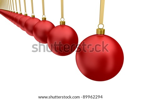 red Christmas balls hanging isolated on white background