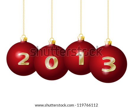 Red Christmas Balls 2013 Hanging on Golden Chains isolated on white background - stock photo
