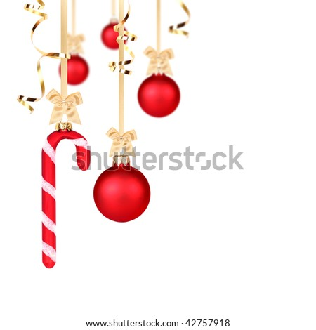 Red Christmas balls hanging with golden ribbons on white background