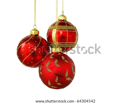 Red Christmas balls, isolated on white background - stock photo