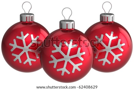 Red Christmas balls New Year baubles silver snowflake decoration. Traditional Xmas greeting card design element. Detailed 3d render. Isolated on white background - stock photo
