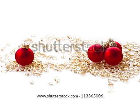 Red Christmas balls on the color background . - stock photo