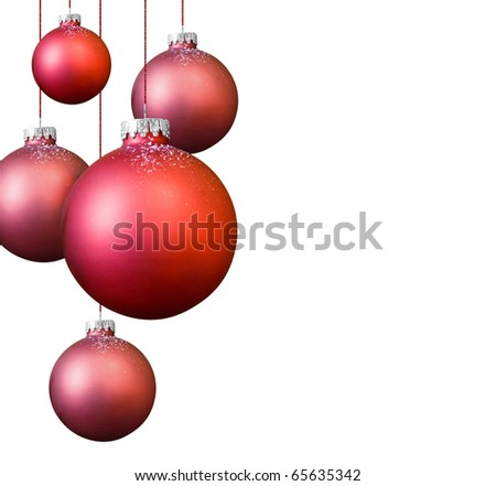Red Christmas balls on white background