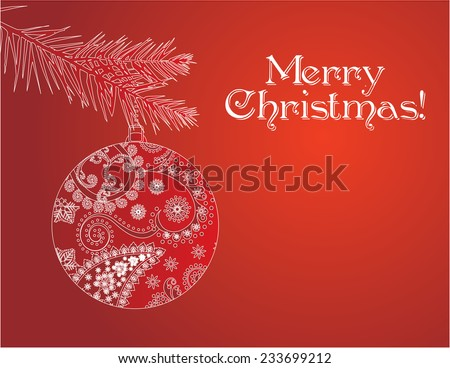 Red Christmas bauble card - stock photo
