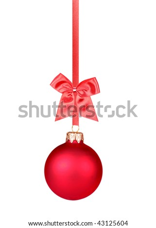 Red Christmas bauble hanging with red bow (perfectly isolated on white background, very easy to cut out)