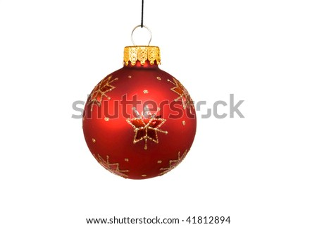 Red Christmas bauble isolated on white