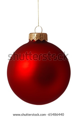Red Christmas bauble isolated on white background - stock photo