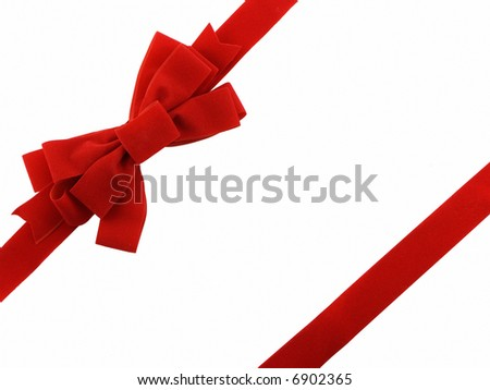 Red christmas bow and ribbon - stock photo
