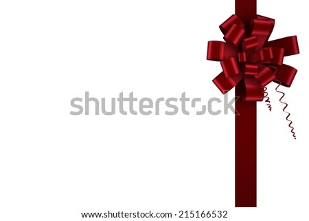 Red christmas bow and ribbon on white background