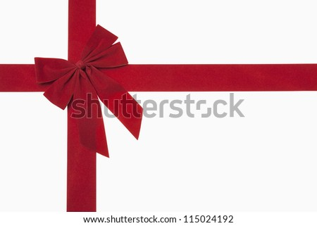 Red christmas bow, includes clipping path