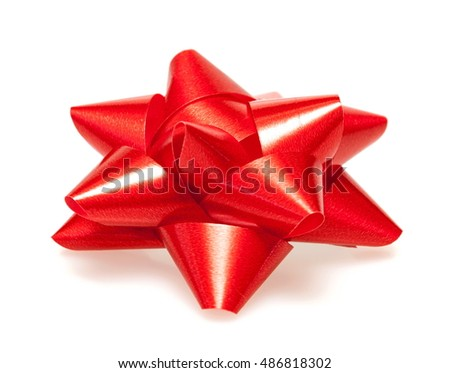 Red christmas bow isolated on white background
