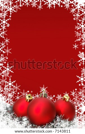 Red Christmas card with ornaments and snowflakes