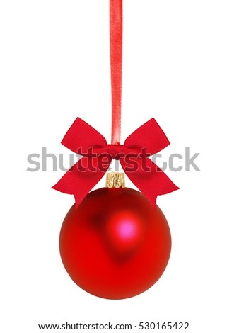 Red Christmas decor ball isolated on white background