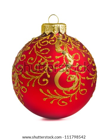Red christmas decoration ball isolated on white - stock photo