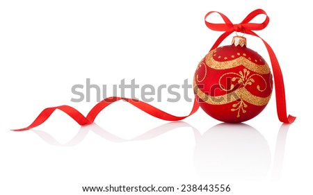 Red christmas decoration ball with ribbon bow isolated on white background - stock photo