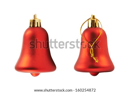 Red christmas decoration bell figure isolated over white background, set of two foreshortenings - stock photo