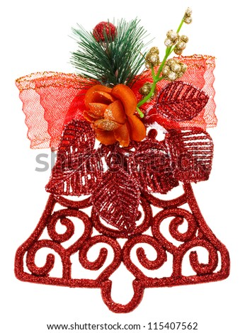 Red Christmas decoration bell, isolated on white - stock photo